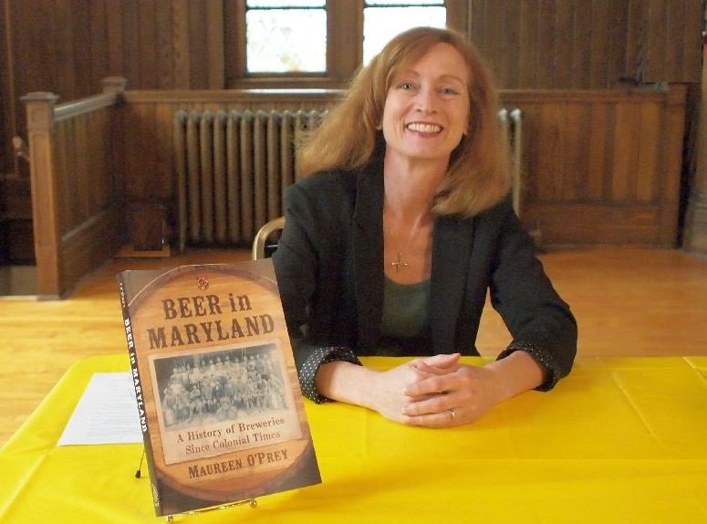 Maureen O'Prey signing Beer In Maryland Book at Gritsch Fund Beer Talk